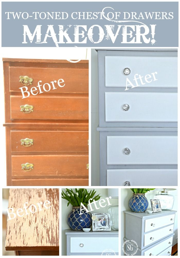 TWO TONED PARIS GREY AND WHITE CHEST OF DRAWERS DIY A couple coats of paint is like magic!