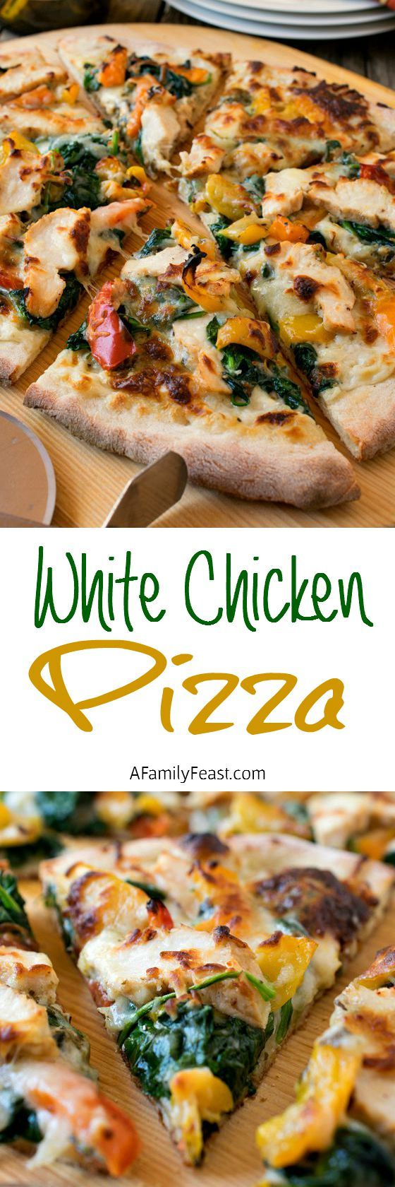 Change family pizza night with this delicious White Chicken Pizza! Grilled chicken, creamy white bechamel, pesto, peppers, spinach and mozzarella! Pizza heaven!