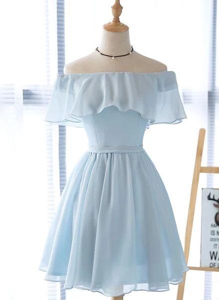 Simple Light Blue Off Shoulder Formal Dress 2019, Short Party Dresses