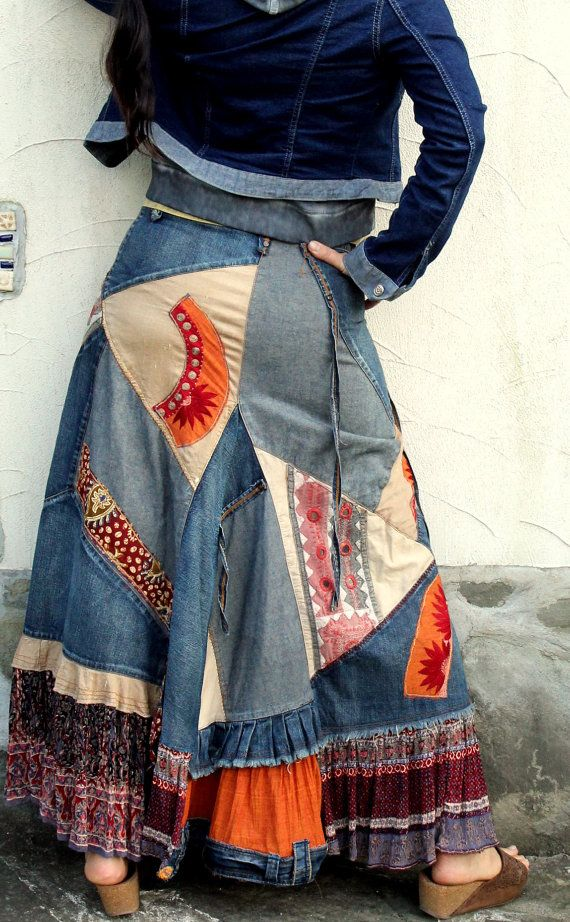 Banjara Crazy patchwork reciclado denim falda larga por jamfashion