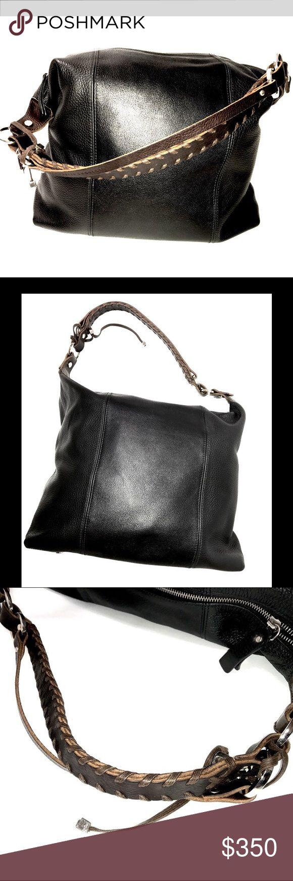 "Pauric Sweeney Purse 195097 Leather Black and Brown Dust Bag Included Rope Handle - Leather 14""W x 11""H x 8"" D 12"" Handle Drop Pauric Sweeney Brand pauric Sweeney Bags Shoulder Bags"