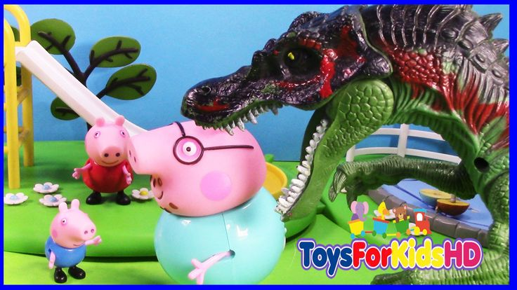 Peppa Pig George y el Dinosaurio Ejercitando a papa cerdito - Juguetes d...