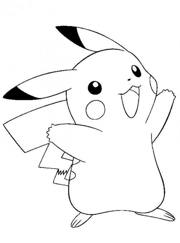 Pikachu Pokemon Black And White Coloring Pages Print
