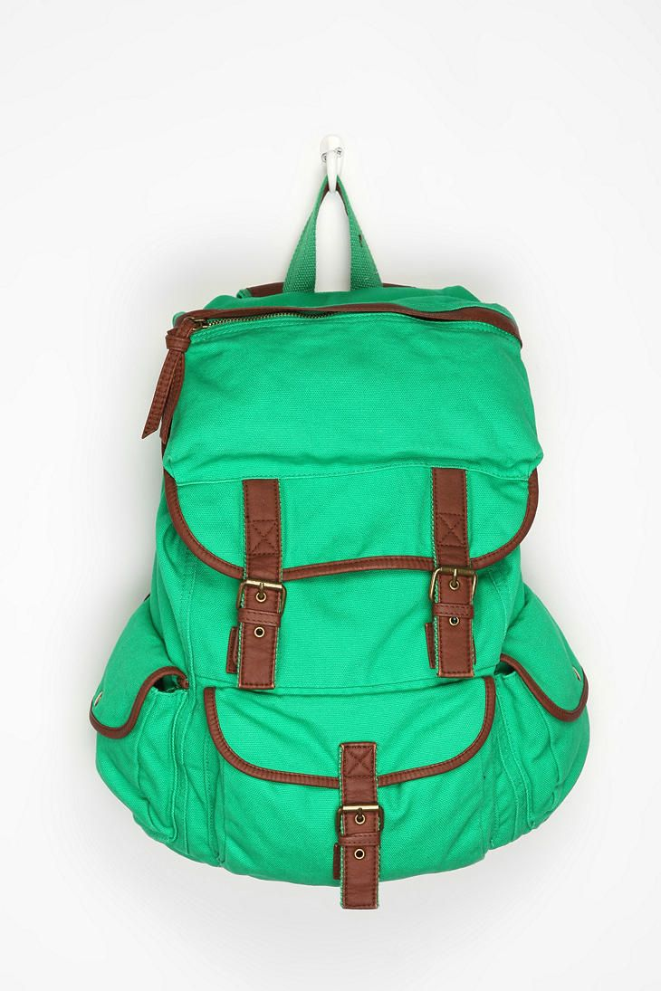 Want... Saw in store, the green was a totally different color... more Kelly Green. It was cuter in person, but I want it for $20 not $40. bleeh -L Ecote Solid Canvas Backpack  #UrbanOutfitters