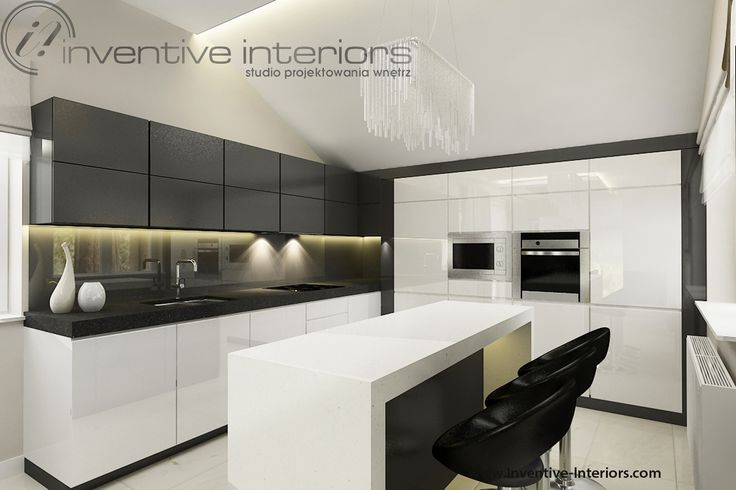Projekt kuchni Inventive Interiors - biało szara kuchnia z wyspą