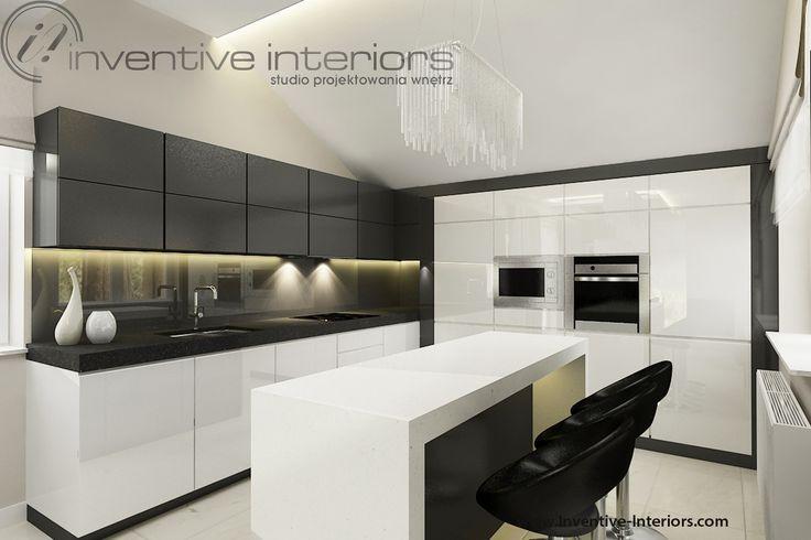 Projekt kuchni Inventive Interiors  biało szara kuchnia z   -> Kuchnia Ciemno Szara