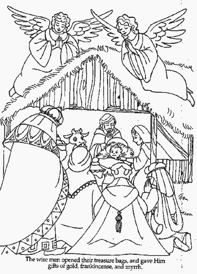 Coloring Page Bible Christmas Story