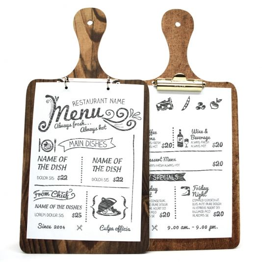 Die Cut Printed Wooden Clip Boards. Wooden menus, wooden menu boards, menu displays and restaurant products.