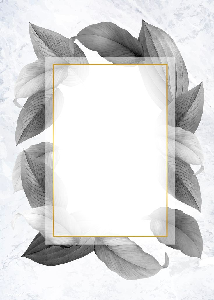 Golden frame on a gray leafy background vector   f…