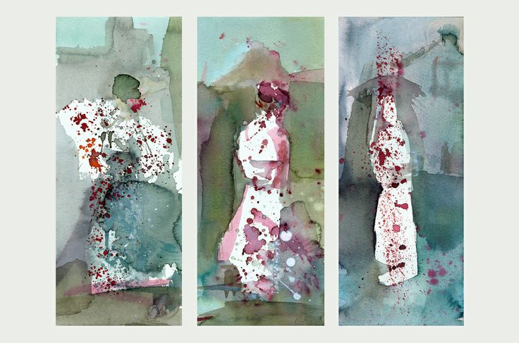 """Three geishas""  Watercolors on high quality paper."