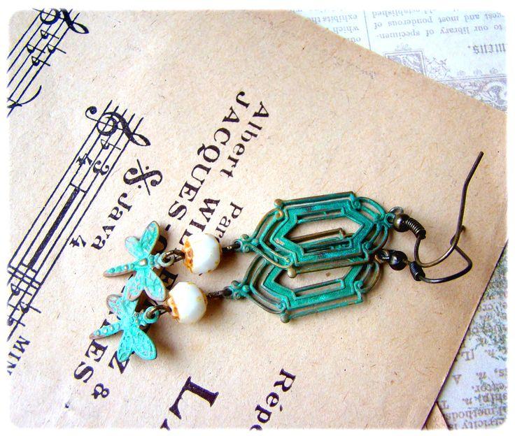 Vintage verdigris patina brass Earrings, dragon fly, bohemian vintage beads, made by www.facebook.com/kokinoshop