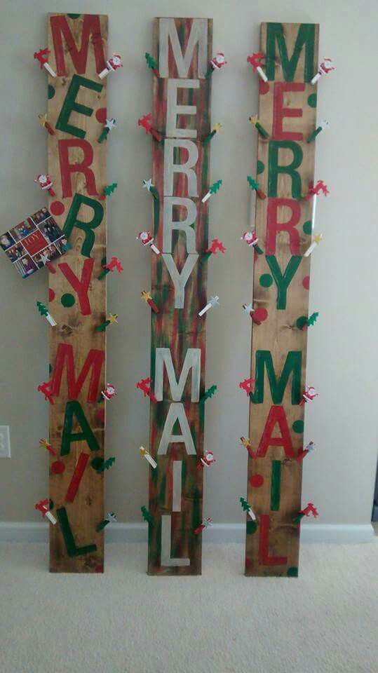 Merry mail wood sign.  Hand painted and stained 6 ft tall Wood signs that say Merry Mail to hold your Christmas cards/photos at Christmas time