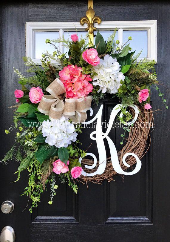 Inspiration! Spring Wreath for Front Door, Monogram Wreaths, Summer Door Wreath, Burlap Wreaths, House Warming Gift, Door Decor, Burlap Wreath
