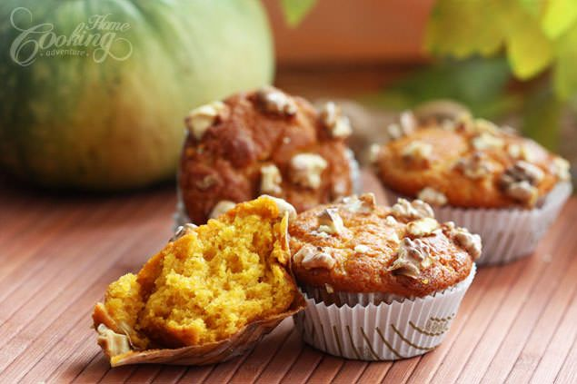Amazing rich pumpkin muffins perfect for a quick breakfast or take on the go. A good way to use walnuts, and have kids eat pumpkin and walnuts in one bite.