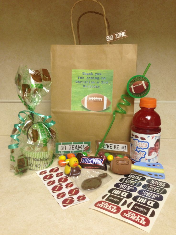Here are some goodie bags for a birthday football party just add a bag ...