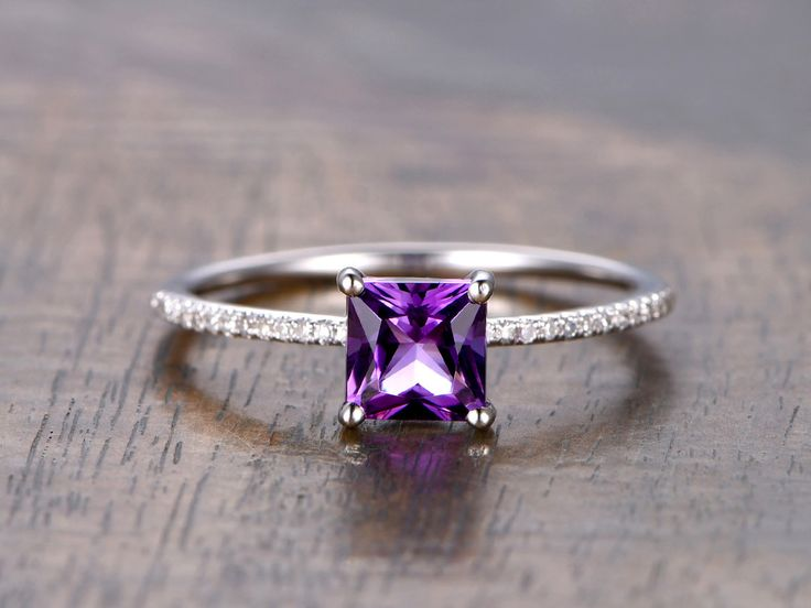 Amethyst diamond engagement ring in BBBGEM,see our february birthstone rings in purple with round,oval,cushion,princess,emerald cut,pear shapes.