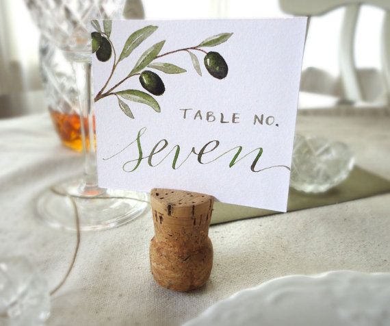 Olive Branch Watercolor Wedding Reception Cards  by NooneyArt