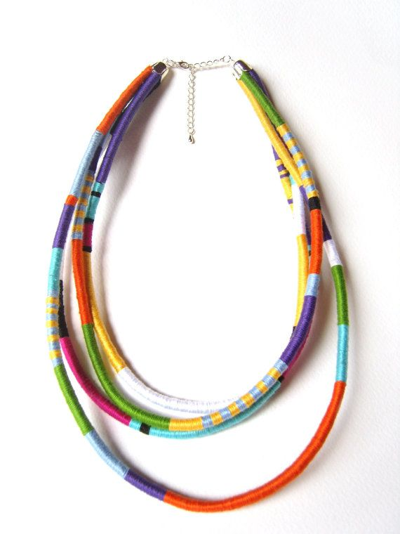 Statement Necklace, Thread Wrapped Necklace, African Jewelry, Leather Cord Jewelry, Under 40