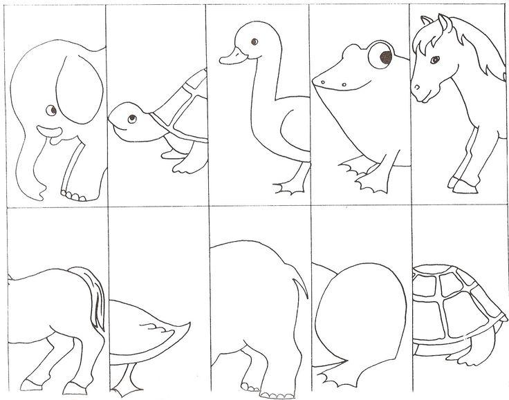 Puzzel kop staart dieren