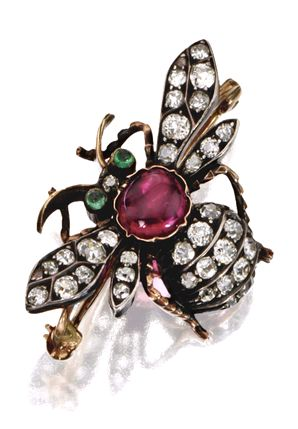 GEM-SET INSECT PINS, LATE 19TH CENTURY   A bee, variously set with old-mine and rose-cut diamonds, faceted sapphires and rubies, pearls, and cabochon rubies and emeralds, mounted in gold and silver.