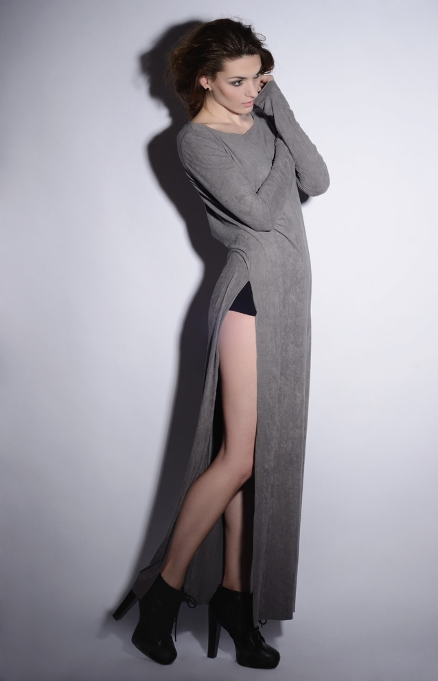 wawak/czajkowska  GIA GIA A/W 13/14  #long  #dress  #slits  #soft  #cut  #back  #grey