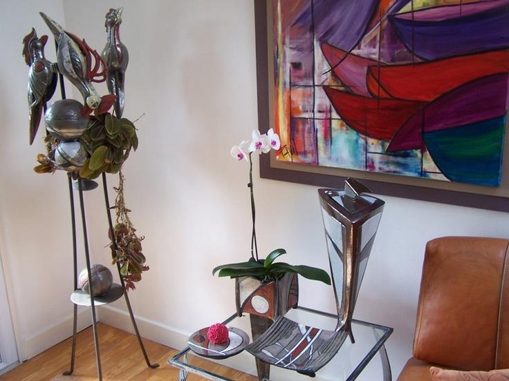 Atelier Pier'art à Savonnières devant bar Peinture : Exposition d'œuvres récentes.  Céramique : exposition et visite de l'atelier, démonstration de travail de modelage ou de pièces tournées sur demande.
