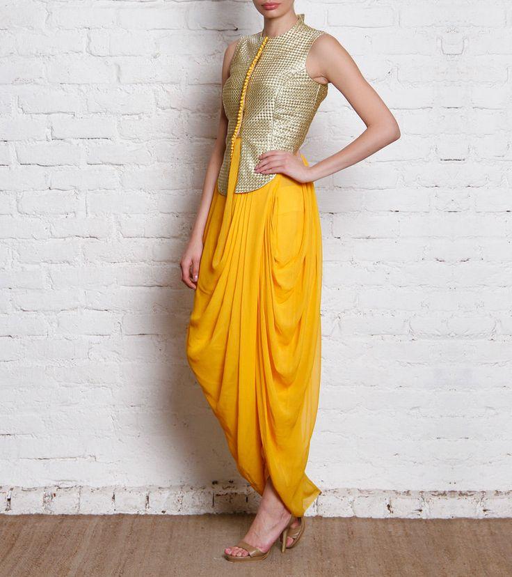 Golden & Yellow Dhoti Set Gyans