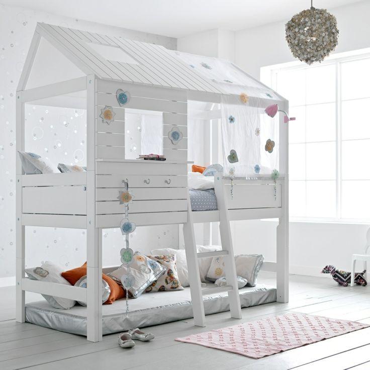 lits cabane fille superposés pour chambre d'enfants
