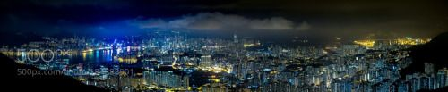 Kowloon Panorama by carloyuen  sky city sea travel blue night light clouds outdoor urban panorama no people Kowloon Panorama carloy