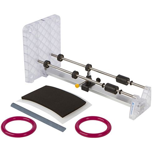 The Creators Bottle Cutter is a high-tech, dependable bottle cutter that is simple to use and creates precise scores around the bottle. Constructed from a poly-carbonate plastic, durable stainless steel slide bars, enclosed rubber coated ball bearing rollers (to keep out glass slivers), and is the only Made In USA bottle cutter with a carbide cutting wheel.