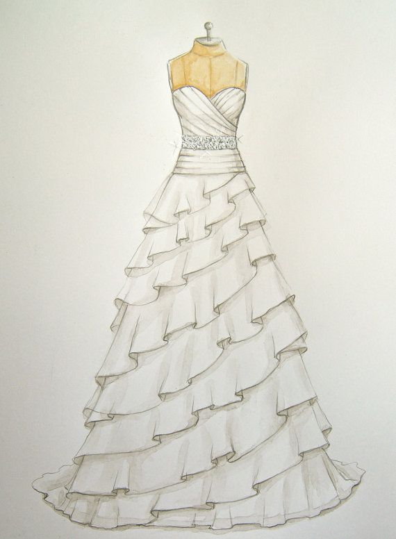 Custom Wedding Dress Illustration/sketch (on dress form)  (wedding and anniversary gift)-  fashion illustration- www.foreveryourdress.com