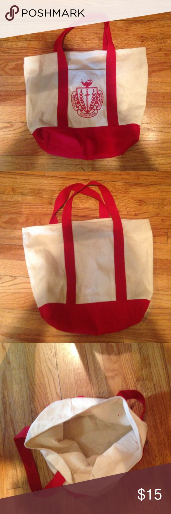 Panhellenic Sorority Tote Large Panhellenic Sorority Tote. Great for Greek unity! I barely used mine! It was for a recruitment guide gift. Would be great for traveling or carrying books. Or anything large! Bags Totes