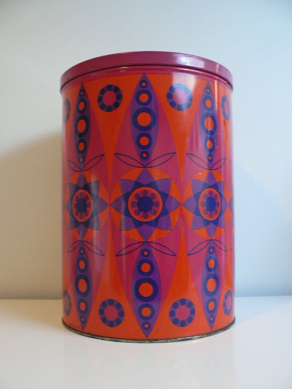 vintage 1960s 70s large metal canister / Tomado Holland tin canister / mod space tin jar / dutch design mid century modern