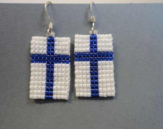 Beaded Finnish Flag Earrings Scandinavian Flag by AJBeadsJewelry