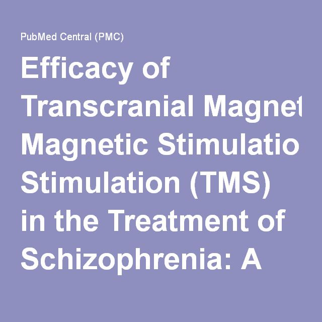 Efficacy of Transcranial Magnetic Stimulation (TMS) in the Treatment of Schizophrenia: A Review of the Literature to Date
