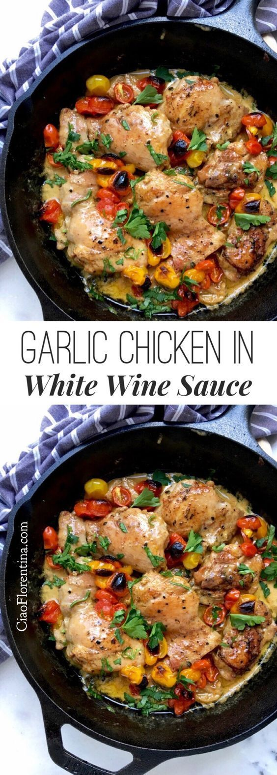 Garlic Chicken in White Wine Sauce Italian Style, with Thyme and Tomatoes ❤️  CiaoFlorentina.com @CiaoFlorentina