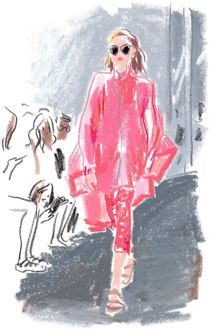 The illustrator Damien Florébert Cuypers draws the models, designers, buyers…