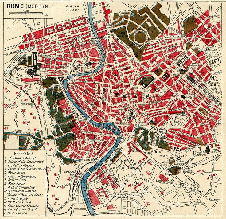This is a wonderful map of Rome from an old Atlas! I love the colors in this map!!
