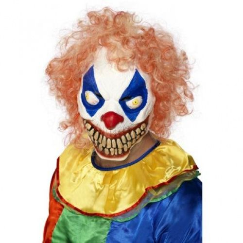 Scary clown makeup. Eye pattern and hair.