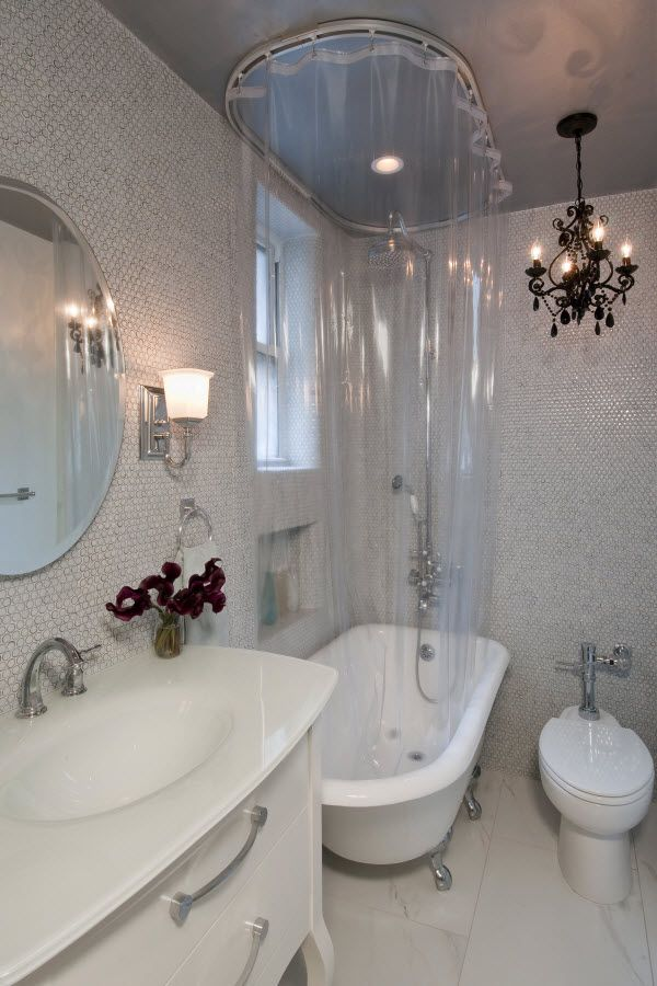Claw Foot Tub Track 88001 With Double Polished Clear Vinyl Curtains. Small  Bathroom ...