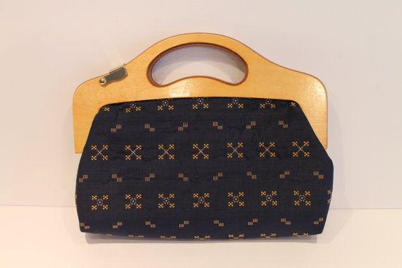 Gorgeous Vintage Blue Handbag  Wooden Handle Purse by FunkieFrocks