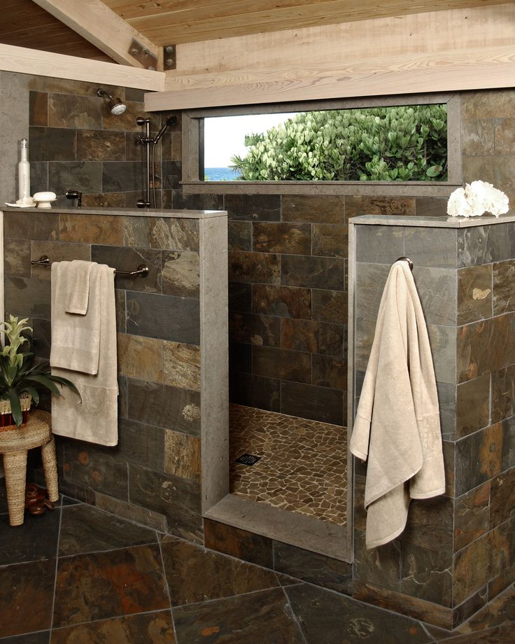 Half wall shower , earth tone tiles