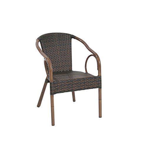 greemotion Bistro Chairs Laos - Styled Rattan Armchair and Wicker Chair Round in Two Toned Brown - Aluminium Garden Chair for the Patio and Balcony - Garden Furniture