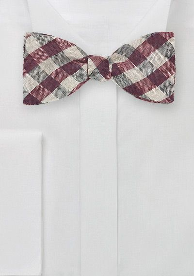 Wine Red and Tan Gingham Check Bow Tie, $29.90 | Cheap-Neckties.com