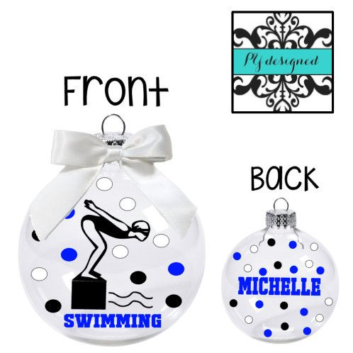 Personalized Ornament for Swimmer/ Christmas by PYdesigned on Etsy