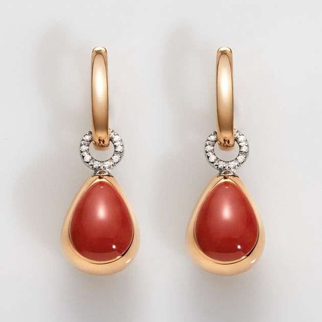Orecchini piccoli, goccia in oro rosa lucido e inserto centrale in corallo rosso, biglierina solo oro