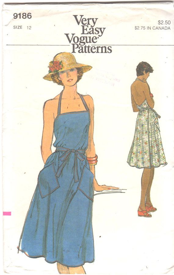 Vogue 9186 1970s Wrap Halter Sundress Pattern Low Back by mbchills
