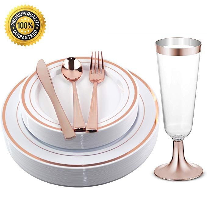 Facciamo Festa Rose Gold Plastic Plates With Cups And Cutlery Supplies 150 Pcs Gold Plastic Plates Plastic Plates Disposable Plastic Plates