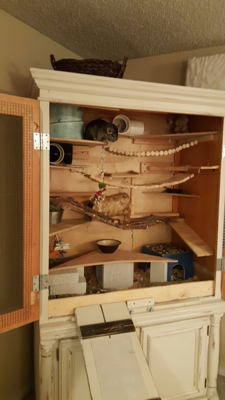 Diy Wooden Chinchilla Cage Upcycled From A Tv Armoire Catsdiyaccessories Chinchilla Cage Chinchilla Pet Pet Cage