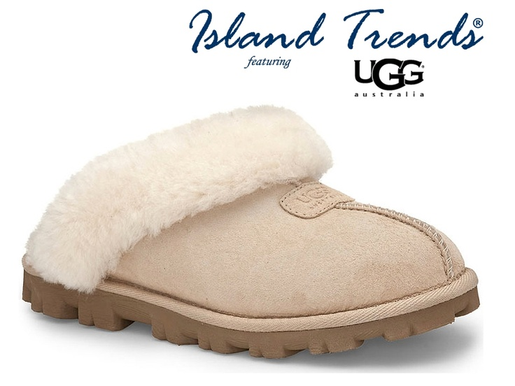 Slip into warmth with the UGG Coquette Slippers in Sand & Black -at Island Trends: http://www.islandtrends.com/ugg-slippers-1893 #uggslippers #ugg #islandtrends #uggcoquetteslippers